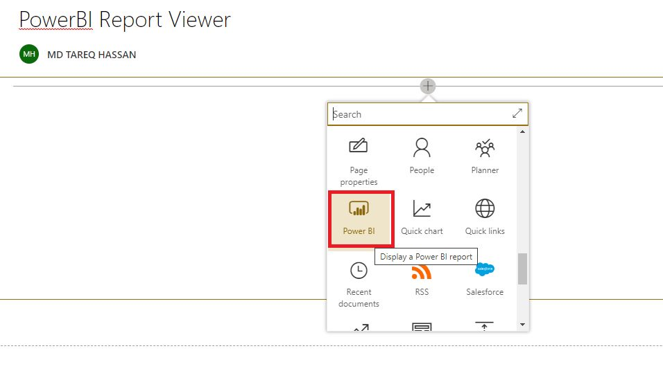 Embed PowerBI Report into SharePoint Step 7
